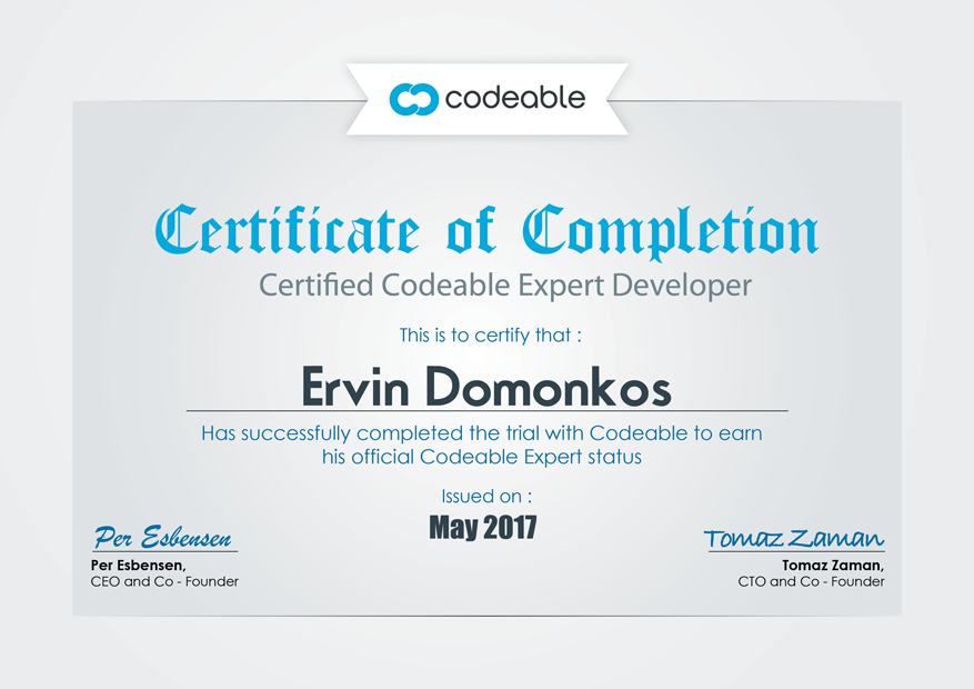 Ervin's Codeable Certificate