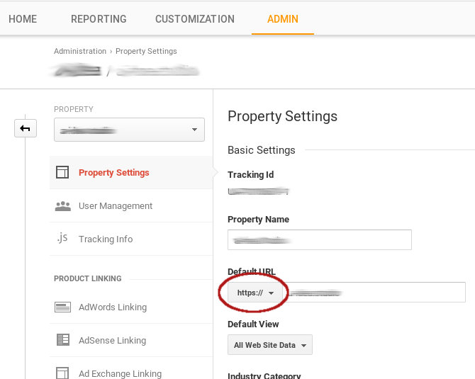 Adjust the new URL in Google Analytics