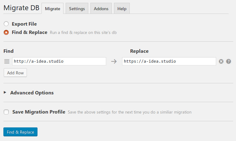 WP Migrate DB settings for multisite transition to HTTPS