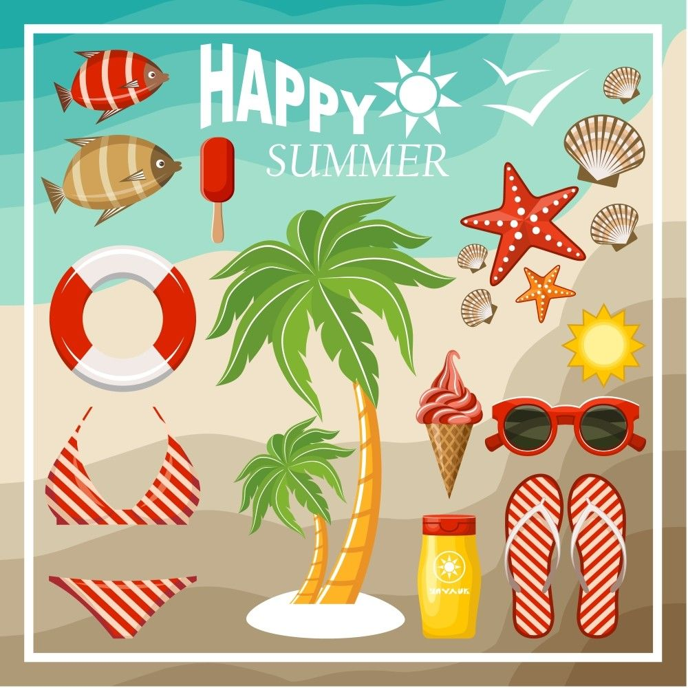 Summer season vector graphics