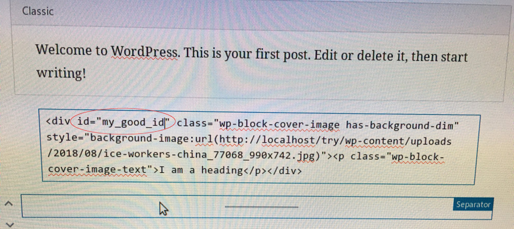 Editing an ID of a block